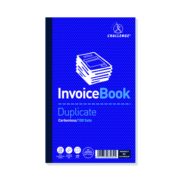 Image for Challenge Carbonless Duplicate Invoice Book 100 Sets 210x130mm (Pack of 5) 100080526