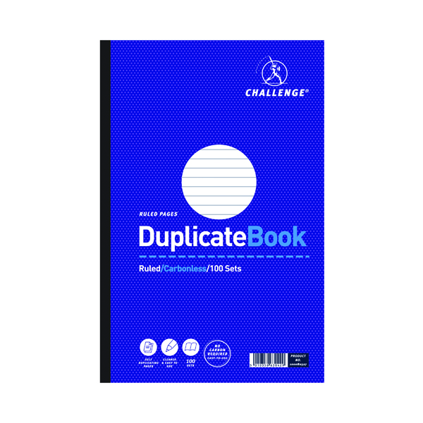 Challenge Ruled Carbonless Duplicate Book 100 Sets 297x195mm (Pack of 3) 100080527