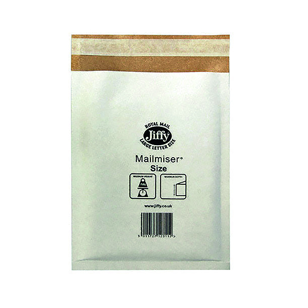 Jiffy Mailmiser Size 00 115x195mm White MM-00 (Pack of 100) JMM-WH-00