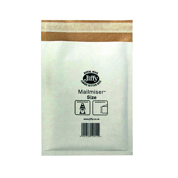 Jiffy Mailmiser Size 1 170x245mm White MM-1 (Pack of 100) JMM-WH-1