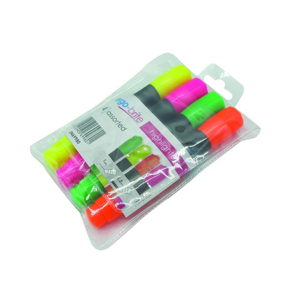 Ergo-Brite Assorted Erognomic Highlighter Pens (Pack of 4) JN69980