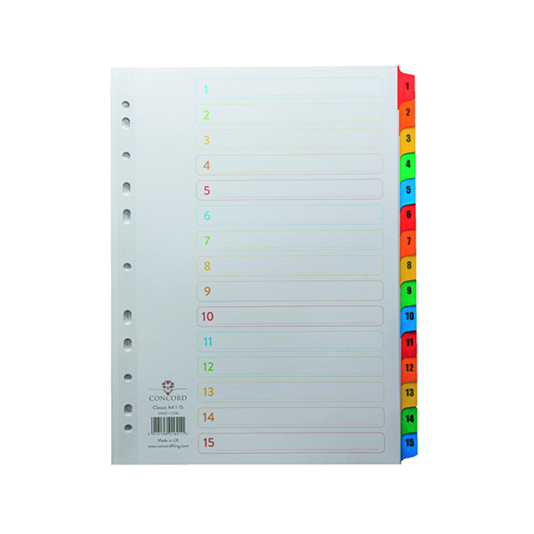 Concord Index 1-15 A4 White with Multicoloured Mylar Tabs 01601/CS16