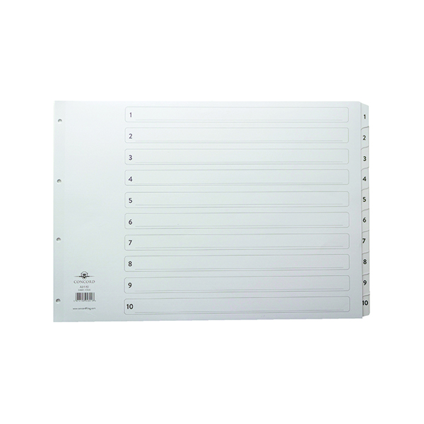 Concord Index 1-10 A3 White Board with Clear Mylar Tabs 04601/CS46