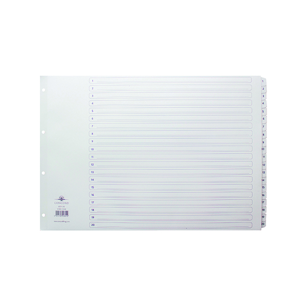 Concord Index 1-20 A3 White Board with Clear Mylar Tabs 04801/CS48