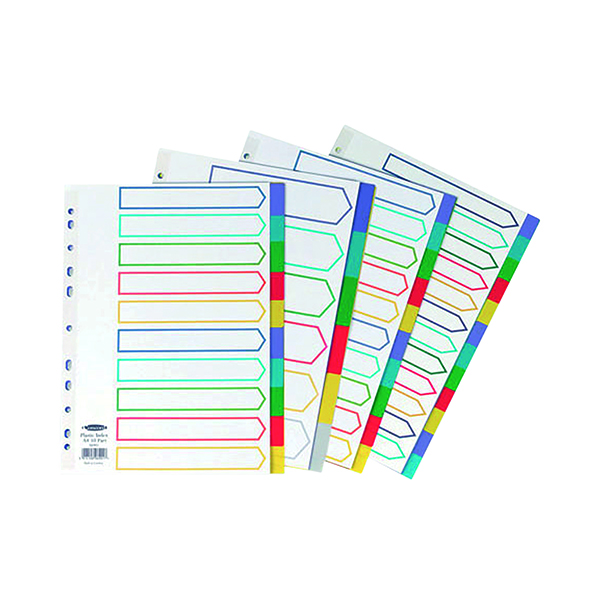 Concord Divider 10-Part A4 Polypropylene Multicoloured 06901