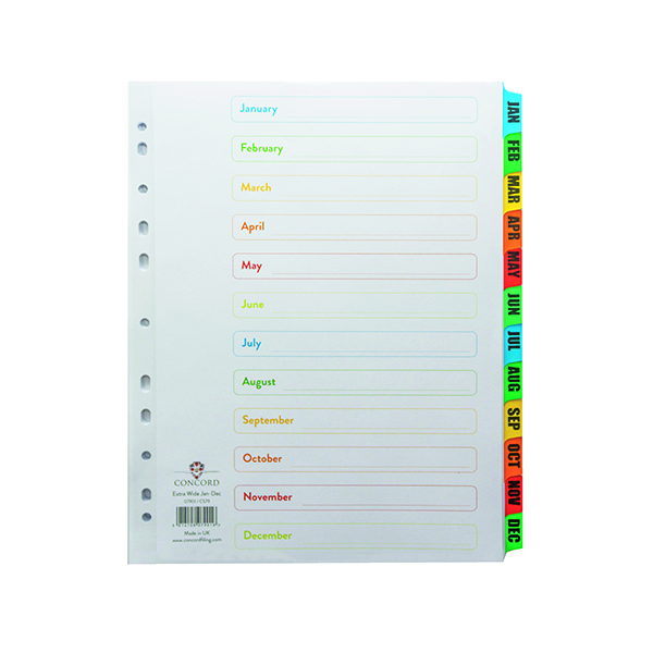 Concord Index Jan-Dec A4 Extra Wide Multicoloured Tabs 07901/CS79