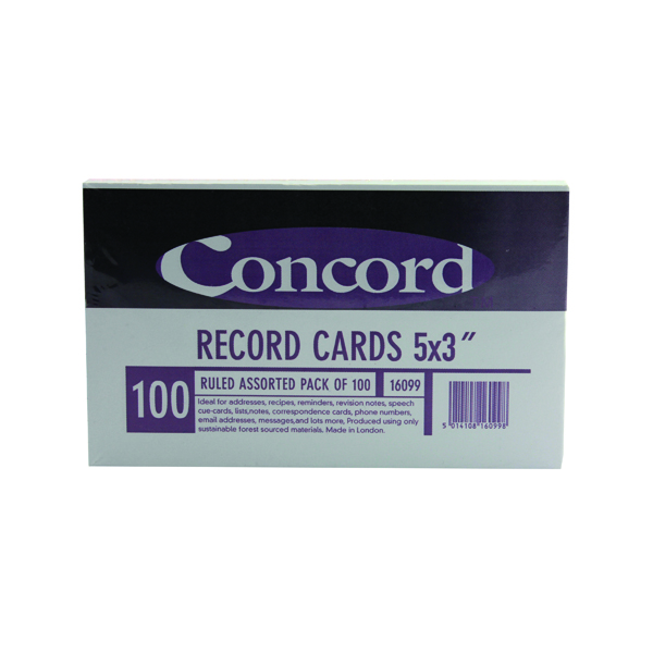 Image for Concord Record Card Ruled 127 x 76mm Assorted (Pack of 100) 16099/160
