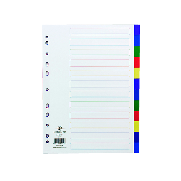 Concord Divider 12-Part A4 Polypropylene Multicoloured 65999