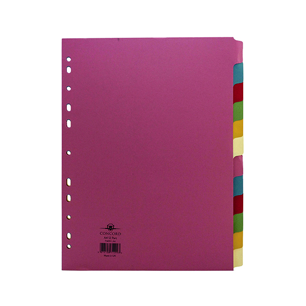 Concord Divider 12-Part A4 160gsm Multicoloured 71499/J14