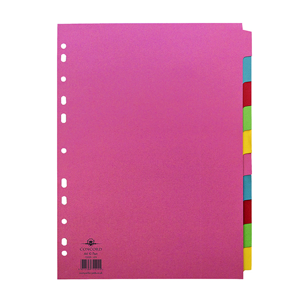 Concord Divider 10-Part A4 160gsm Multicoloured 72099/J20