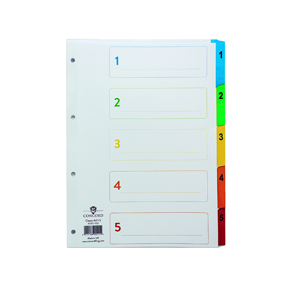 Concord Index 1-5 A4 White with Multicoloured Mylar Tabs 00201/CS2