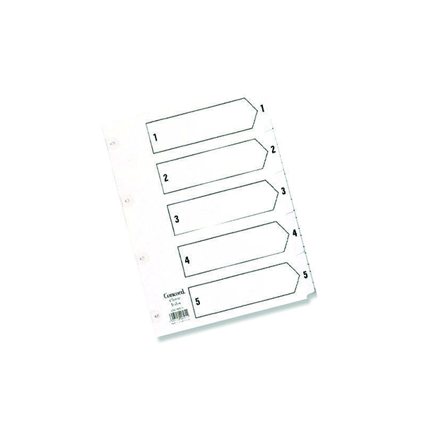 Concord Reinforced Index 1-5 A5 White Board Mylar Tabs 07001/CS70