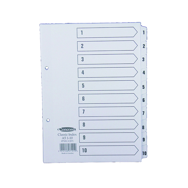 Concord Reinforced Index 1-10 A5 White Board Mylar Tabs 07101/CS71