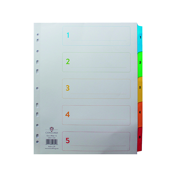 Concord Index 1-5 A4 Extra Wide Multicoloured Mylar Tabs 09601/CS96