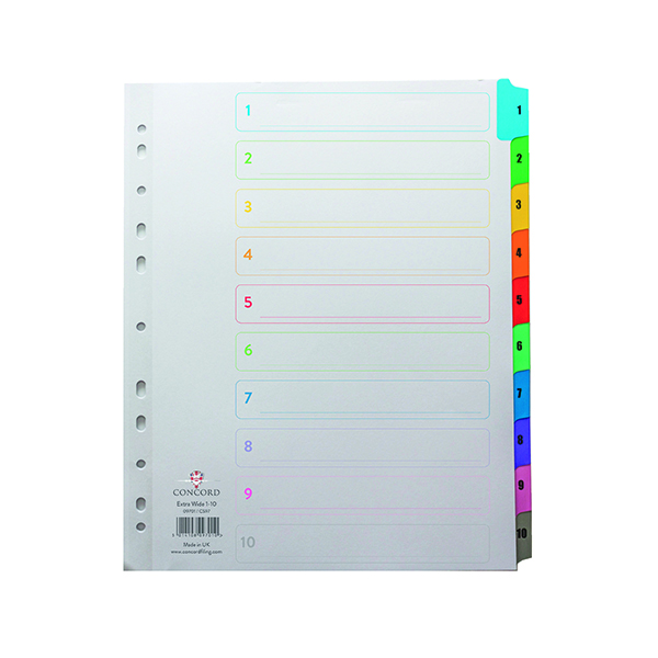 Concord Index 1-10 A4 Extra Wide Multicoloured Mylar Tabs 09701/CS97