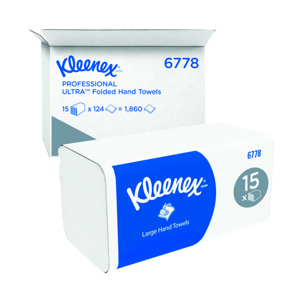 Kleenex 2-Ply Ultra Hand Towel 124 Sheets (Pack of 15) 6778