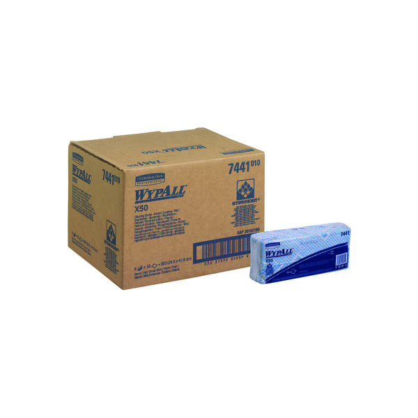 Wypall X50 Cleaning Cloths Blue (Pack of 50) 7441