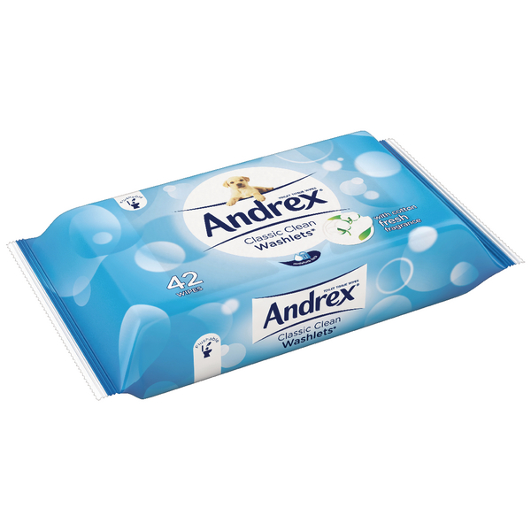 Andrex Classic Clean Washlets 42 Wipes (Pack of 12) 4512278