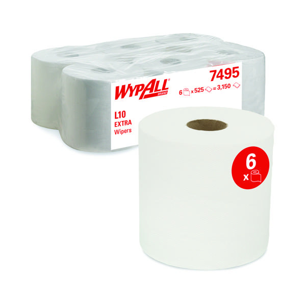 Wypall L10 Wipers White (Pack of 6) 7495