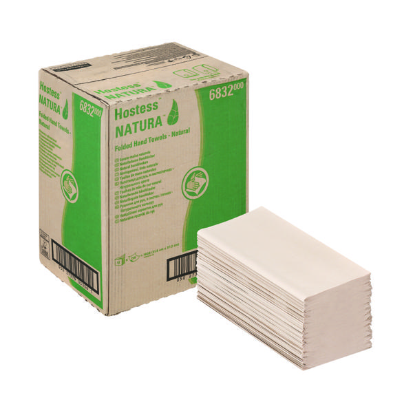 Hostess Natura Hand Towels 1Ply Interfold Natural (Pack of 12) 6832