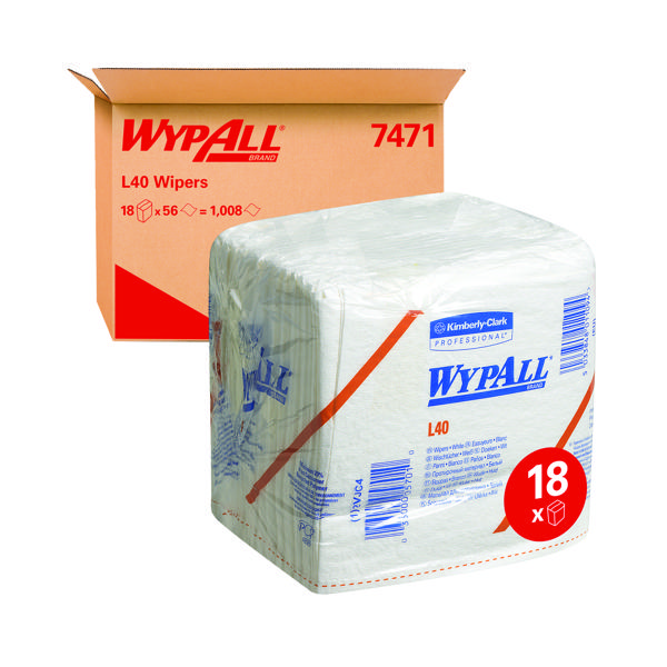 WypAll L40 Folded Wipers 1-Ply 18 packs of 56 Sheets White (Pack of 1008) 7471