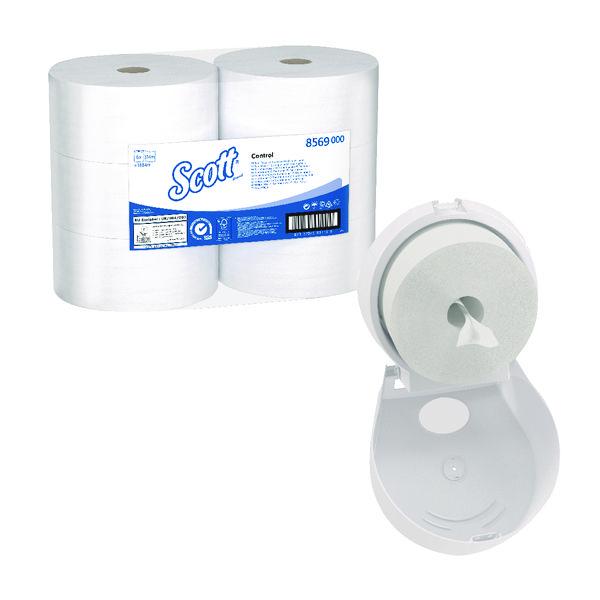 Scott Control Toilet Tissue 2Ply 314m White (Pack of 6) FOC Control Toilet Tissue Dispenser