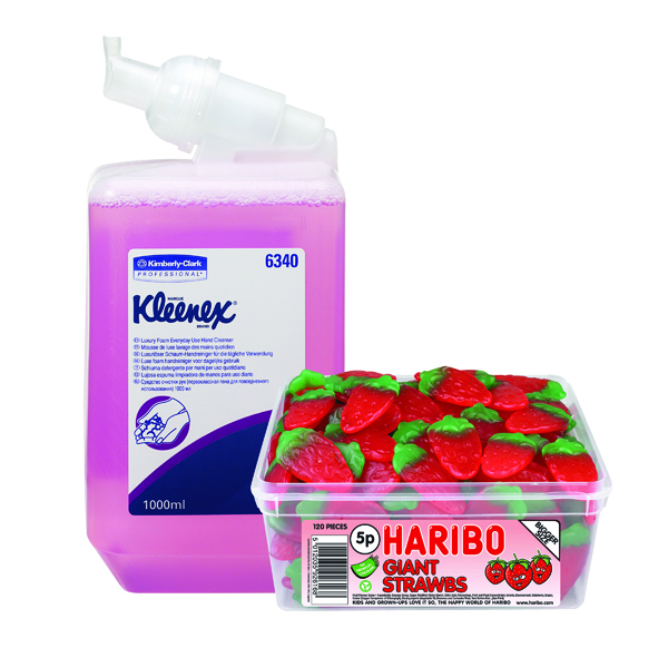 Kleenex Lux Foam Hand Soap Refill Pink 1 Litre (Pack of 6) FOC Haribo