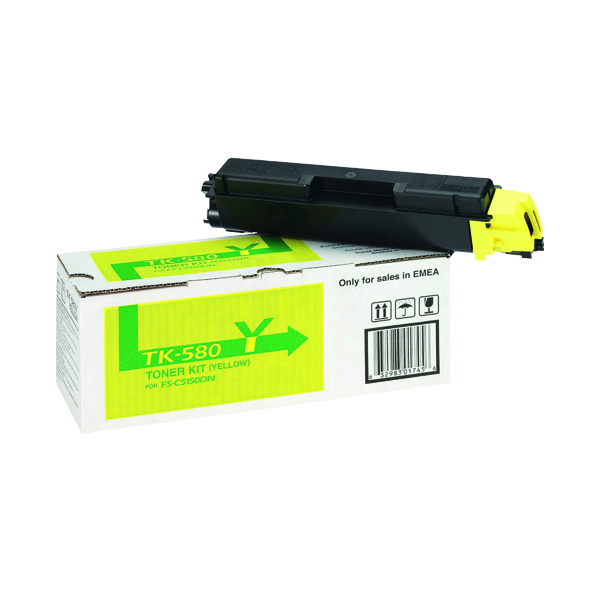 Kyocera TK-580Y Yellow Toner Cartridge (2800 page capacity) 1T02KTANL0