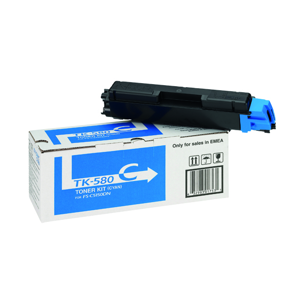 Kyocera TK-580C Cyan Toner Cartridge 1T02KTCNL0