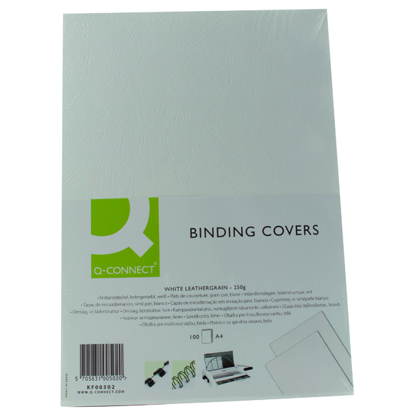 Q-Connect A4 White Leathergrain Comb Binder Cover (Pack of 100) KF00502