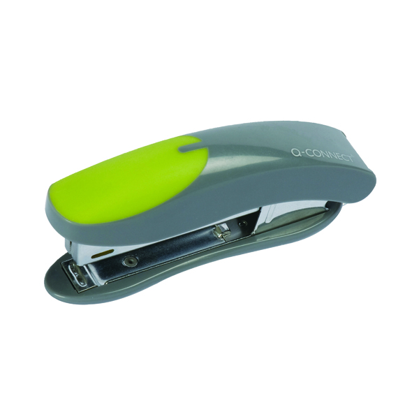 Q-Connect Mini Plastic Stapler Grey/Green (Capacity: 12 sheets of 80gsm paper) KF00991