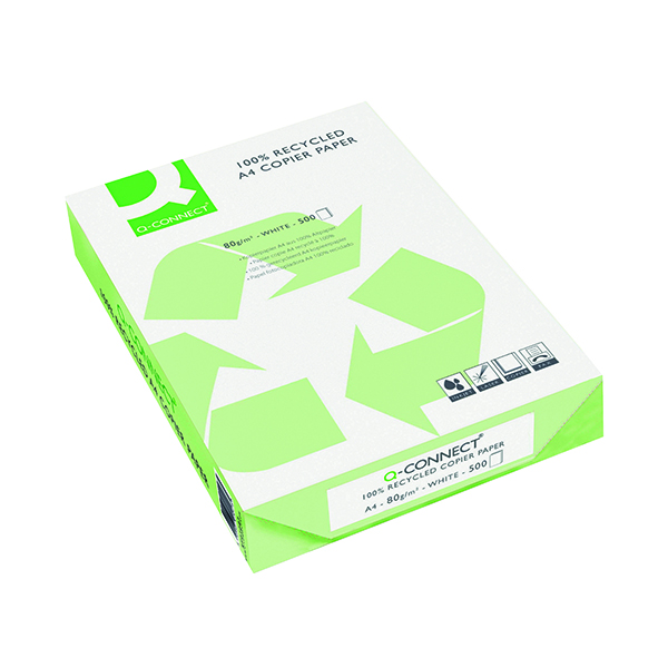 Q-Connect White A4 Recycled Copier Paper Ream 80gsm (Pack of 2500) KF01047