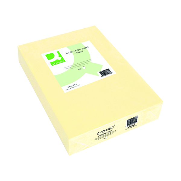 Q-Connect Coloured A4 Copier Paper 80gsm Cream Ream (Pack of 500)