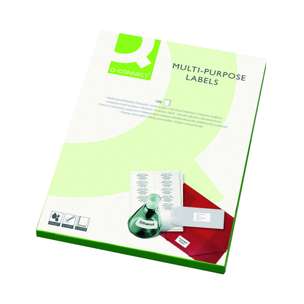 Q-Connect Multipurpose Copier Labels 70x37mm 24 Per Sheet White (Pack of 2400) KF01133