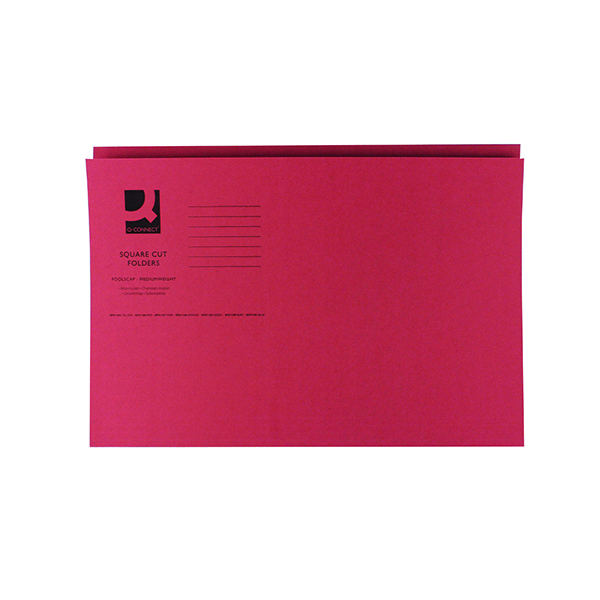 Q-Connect Square Cut Folder Mediumweight 250gsm Foolscap Red (Pack of 100)