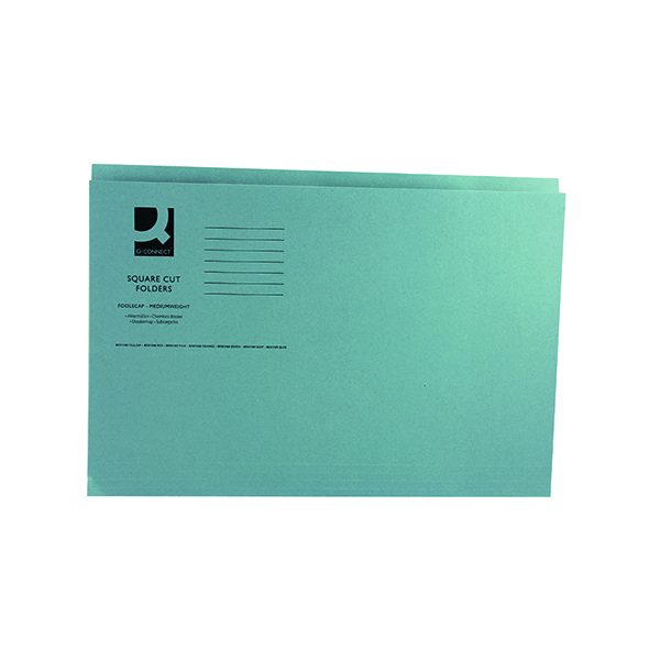 Q-Connect Square Cut Folder Mediumweight 250gsm Foolscap Blue (Pack of 100)
