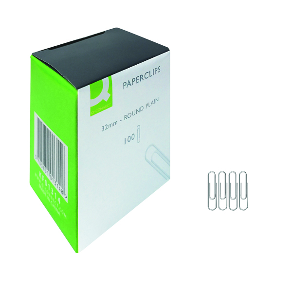 Q-Connect Paperclips Plain 32mm 100 Per Box (Pack of 10) KF01314Q