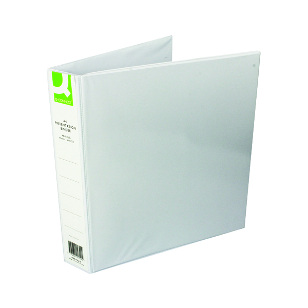 Image for Q-Connect Presentation 40mm 4D Ring Binder A4 White (Pack of 6) KF01329Q
