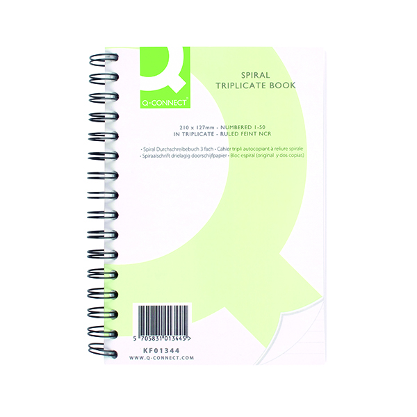 Q-Connect Feint Ruled Wirebound Triplicate Book 210x127mm KF01344