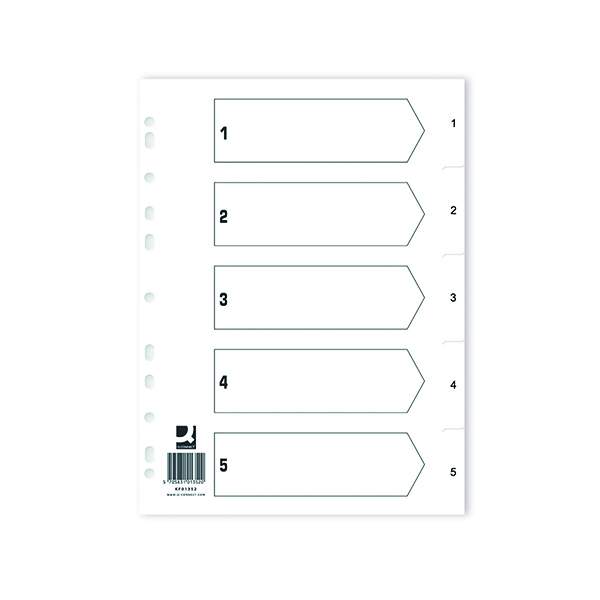 Image for Q Connect Index 1-5 Polypropylene White (Pack of 25) KF01352Q
