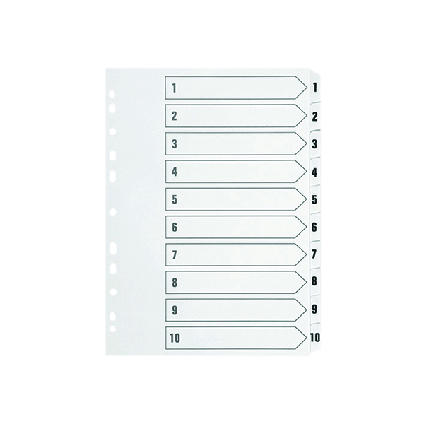 Q-Connect 1-10 Index Multi-punched Polypropylene White A4 KF01353