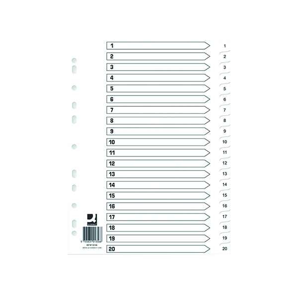 Q Connect Index 1-20 Polypropylene White (Pack of 10)