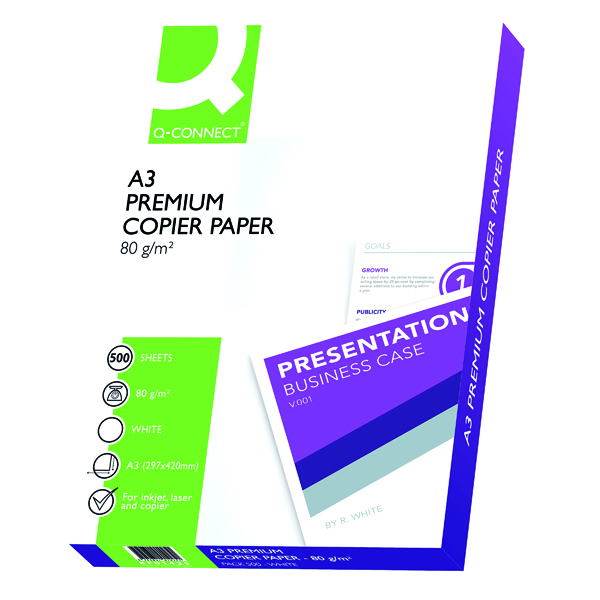 Q-Connect Premium Copier/Laser A3 Paper 80gsm White Ream (Pack of 500) KF01425