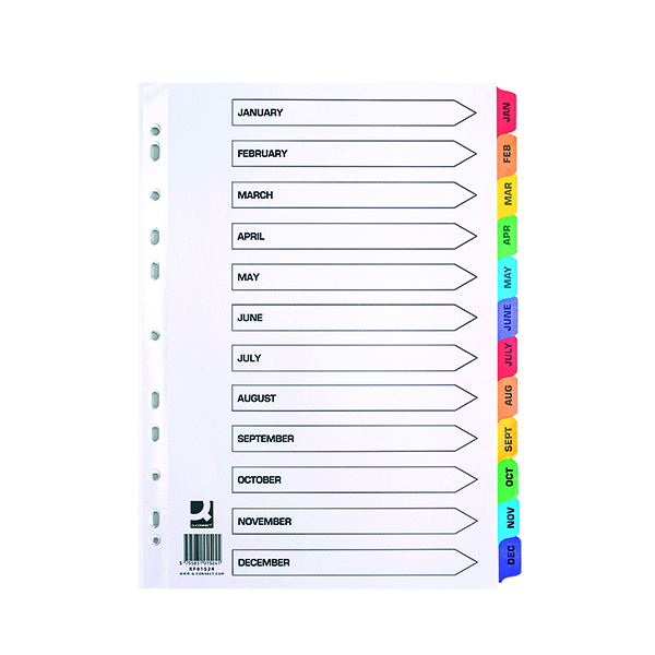 Q-Connect Multi-Punched January-December Reinforced Multi-Colour A4 Index Pre-Printed Tabs KF01524