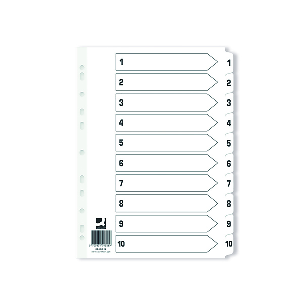 Q Connect Index 1-10 Board Reinforced White (Pack of 25) KF01528Q