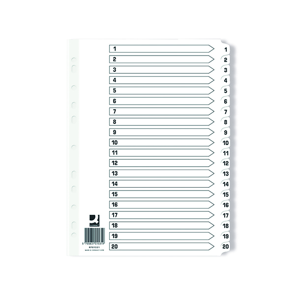 Q Connect Index 1-20 Board Reinforced White (Pack of 10)