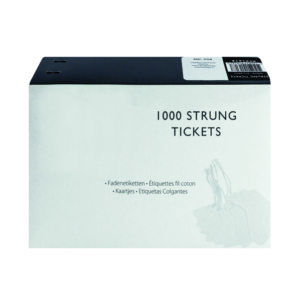 Image for Strung Ticket 37x24mm White (Pack of 1000) KF01618