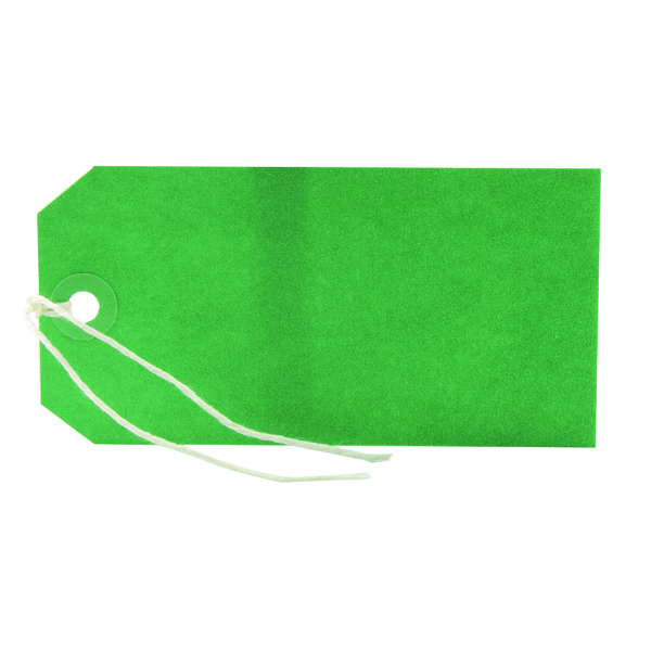 Image for 1000 x Strung Tag 120x60mm Green (Reinforced eyelets prevent tearing) KF01624