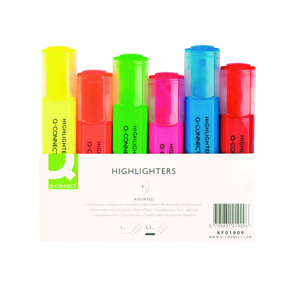 Q-Connect Assorted Highlighter Pens (Pack of 6) KF01909