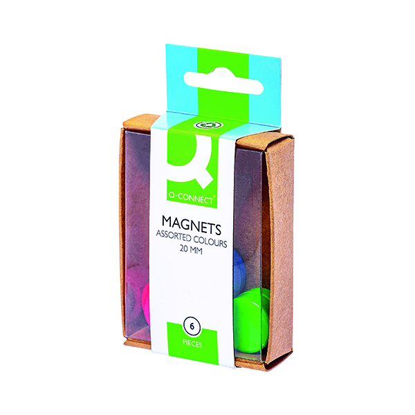Q-Connect Round Magnet 20mm Assorted (Pack of 60)